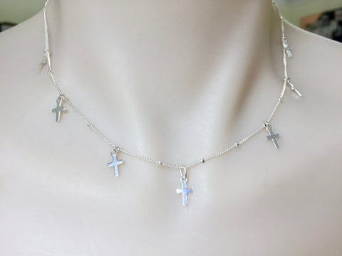 Silver Multi-Cross Necklace