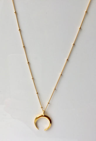 Satellite Crescent Moon Necklace - Gold