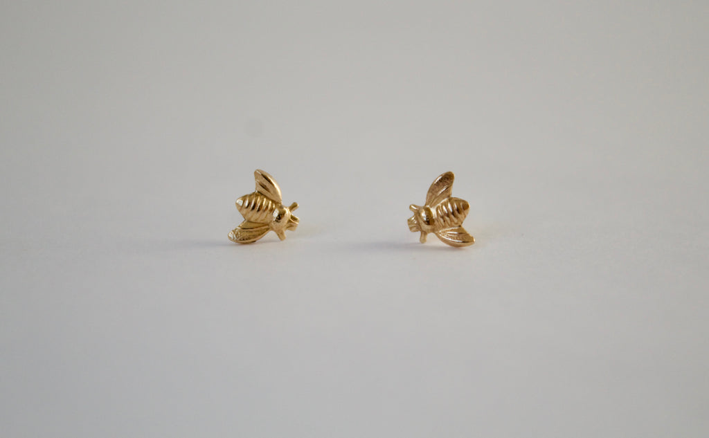 Gold Buzzy Bee Stud Earrings