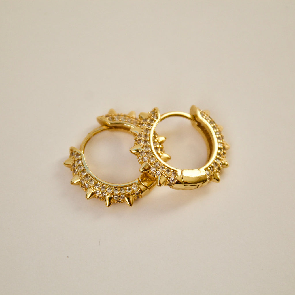 Gold Micro Pave Spike Hoops
