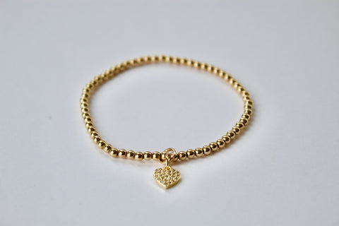Diamanté Heart Charm Bracelet