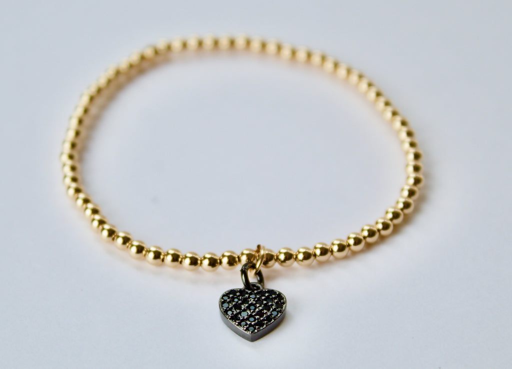 Black Diamanté Heart Charm Bracelet
