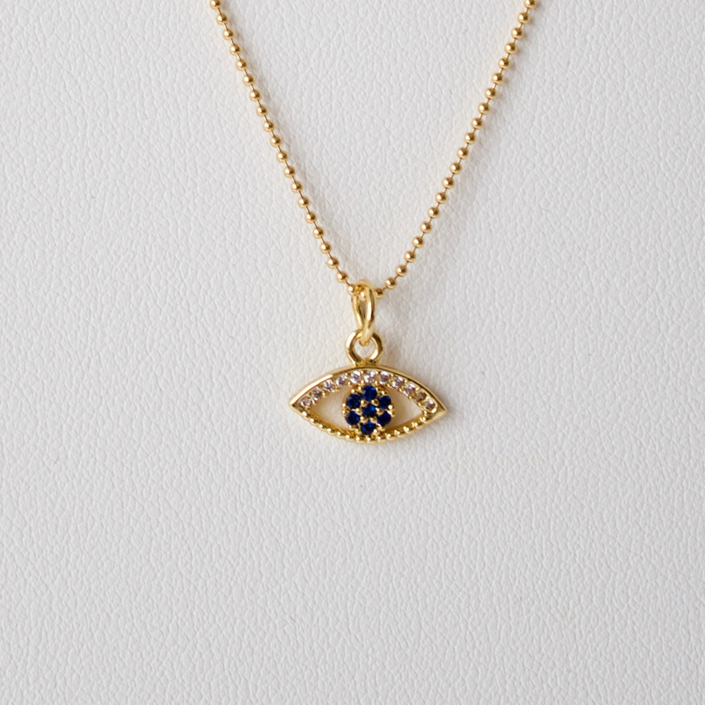 Gold Blue Lucky Eye Necklace