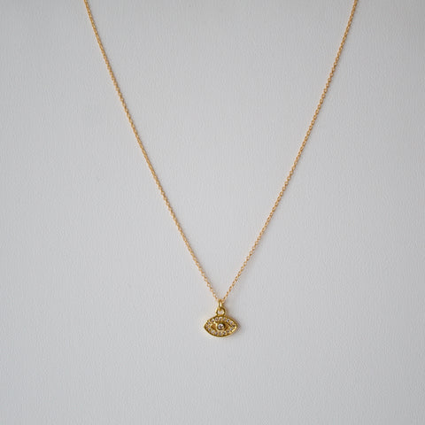 Gold Clear Lucky Eye Necklace