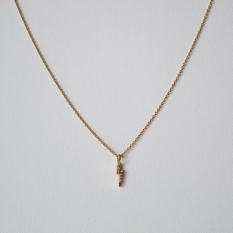 Gold Pave Lightening Bolt Necklace