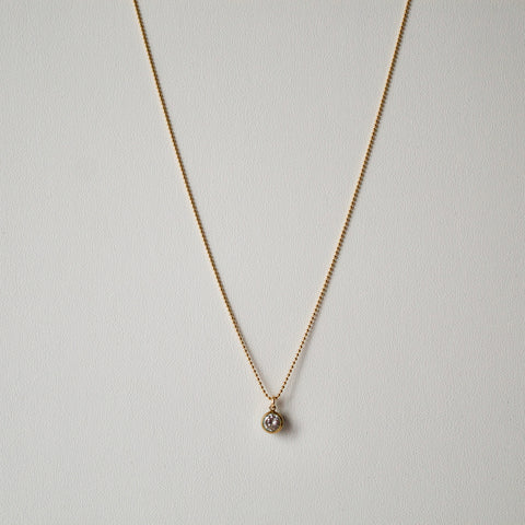 Gold Ball Chain/Diamante Drop Pendant