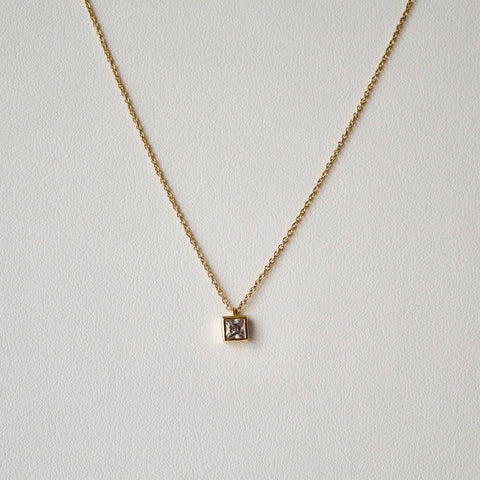 Petite Diamante Cube Pendant Necklace
