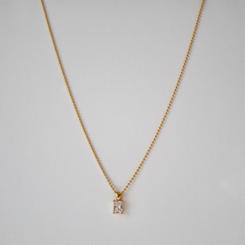 Gold Emerald Cut Diamante Necklace