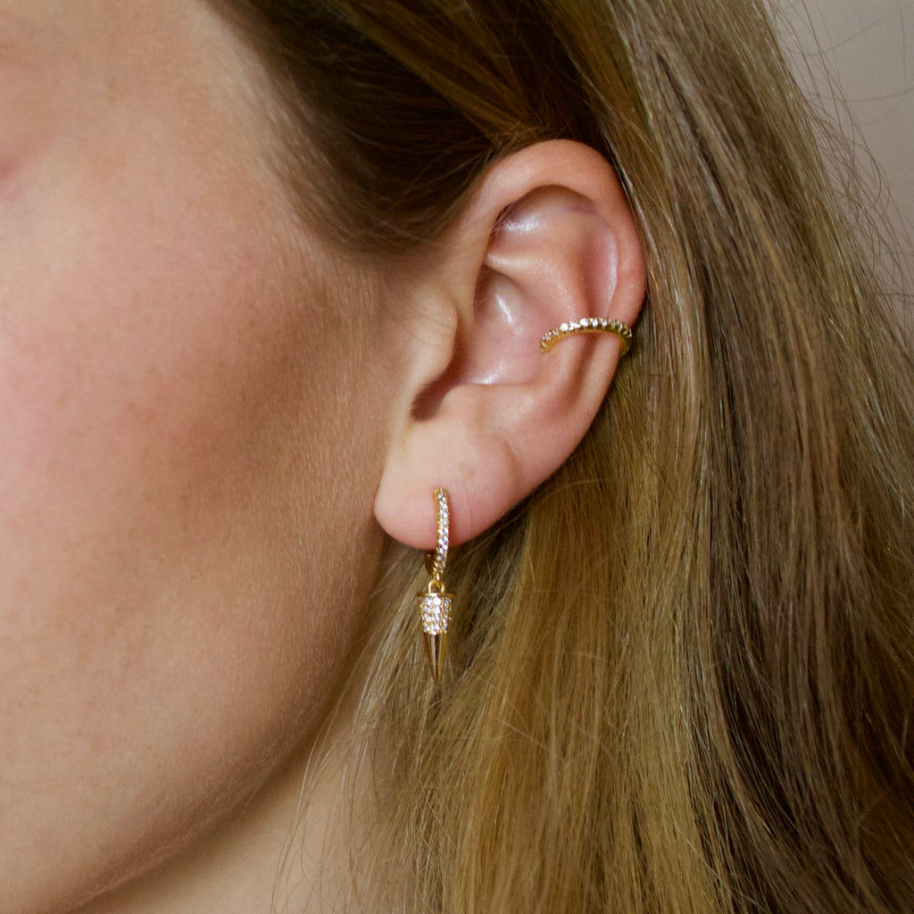 Gold Pave Spike Earrings