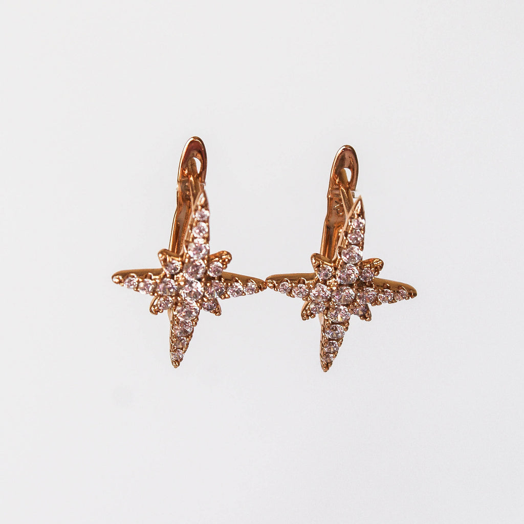 Gold North Star Stud Earrings