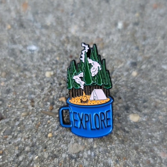 Explore Camping 🏕 Coffee Cup Enamel Pin