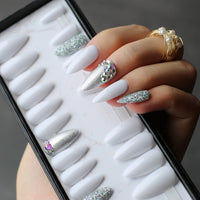 Extra long Stiletto Acrylic Press on Nails with Rhinestones  (various colors)
