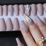 Handmade Coffin/ Stiletto/Ballet Shape Crystal Acrylic Press on Nails  24pcs (various colors)