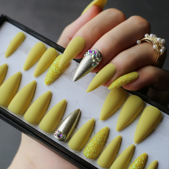 Lemon yellow  (and other styles)  Stiletto Acrylic Press on Nails