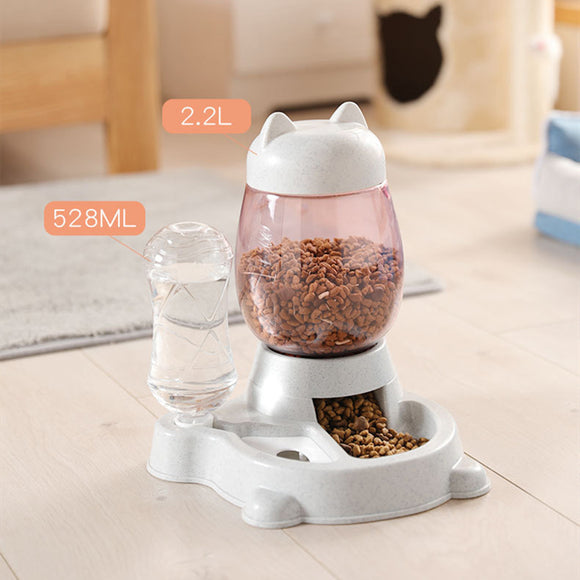 Automatic Feeder for Dogs Cats 2.2L Drinking Water Bottle 528ML Slow Food Container
