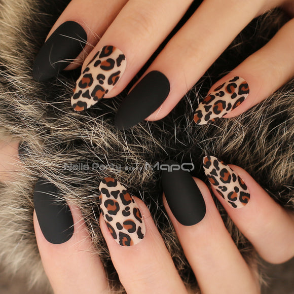 Matte Black/Nude or Burgundy Almond Leopard Print False/Fake Nails