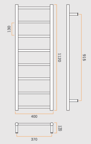 Heated Towel Rail Straight Round 1120x400x120mm