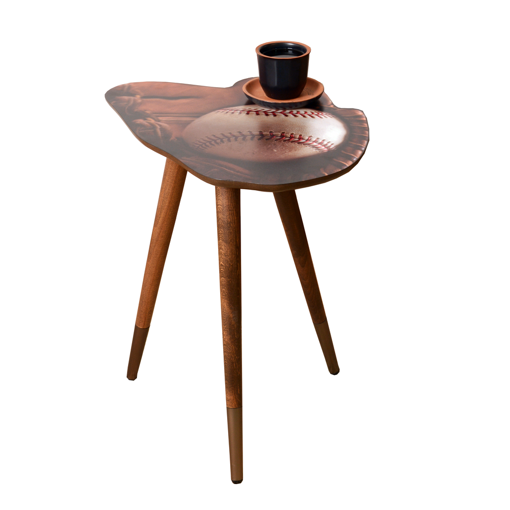 Baseball Glove And Ball Design Modern  Wooden  Side Table - Side Table - casaculina - casaculina