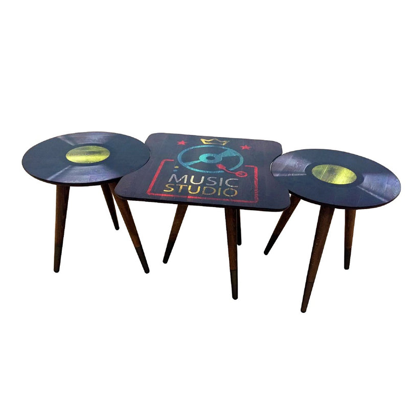 Music Record Design  3 Peaces Wooden Side Table - Coffee Table - casaculina - casaculina