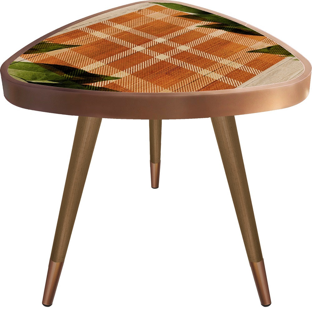 """Orange Plaid&Leaves Theme Modern Design Triangle Wooden Side Table - Coffee Table - casaculina - casaculina"