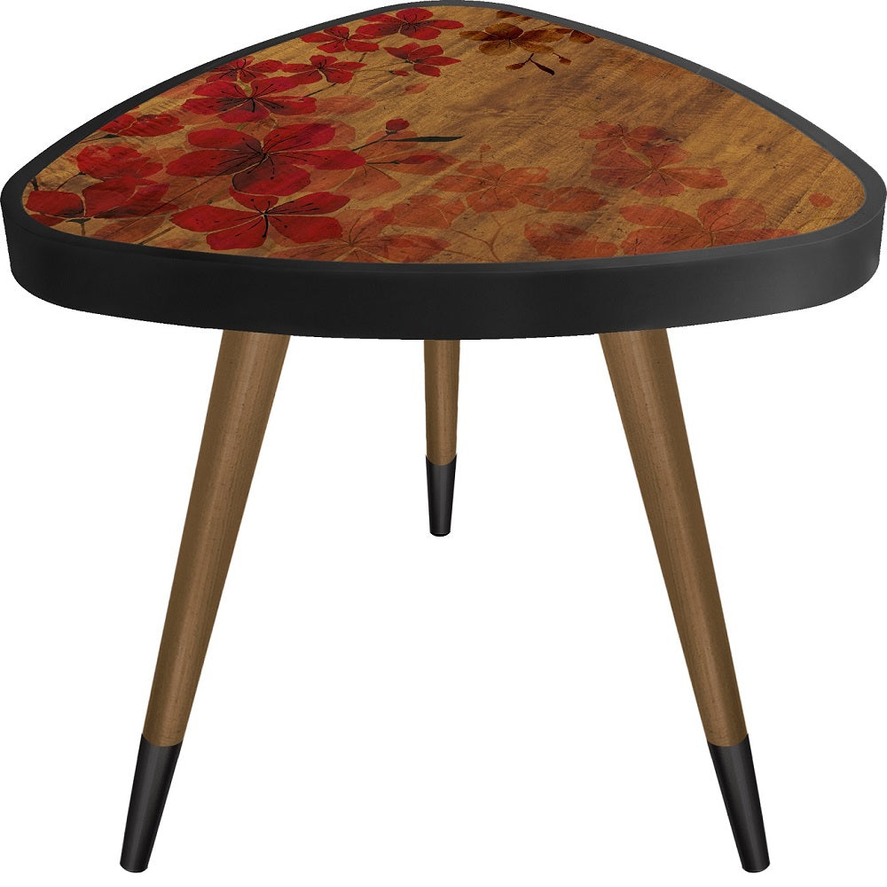 """Red Poppy Flowers Theme Modern Design Triangle Wooden Side Table - Coffee Table - casaculina - casaculina"