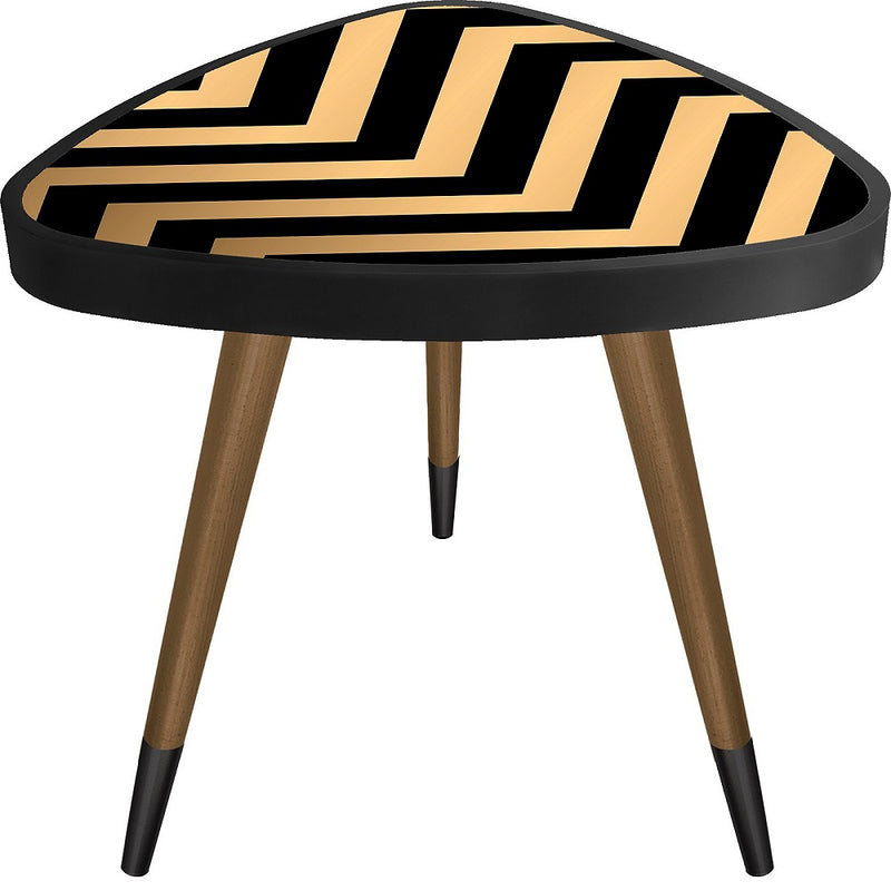 Wavy Stripet Theme Modern Design  Triangle Wooden Side Table - Coffee Table - casaculina - casaculina
