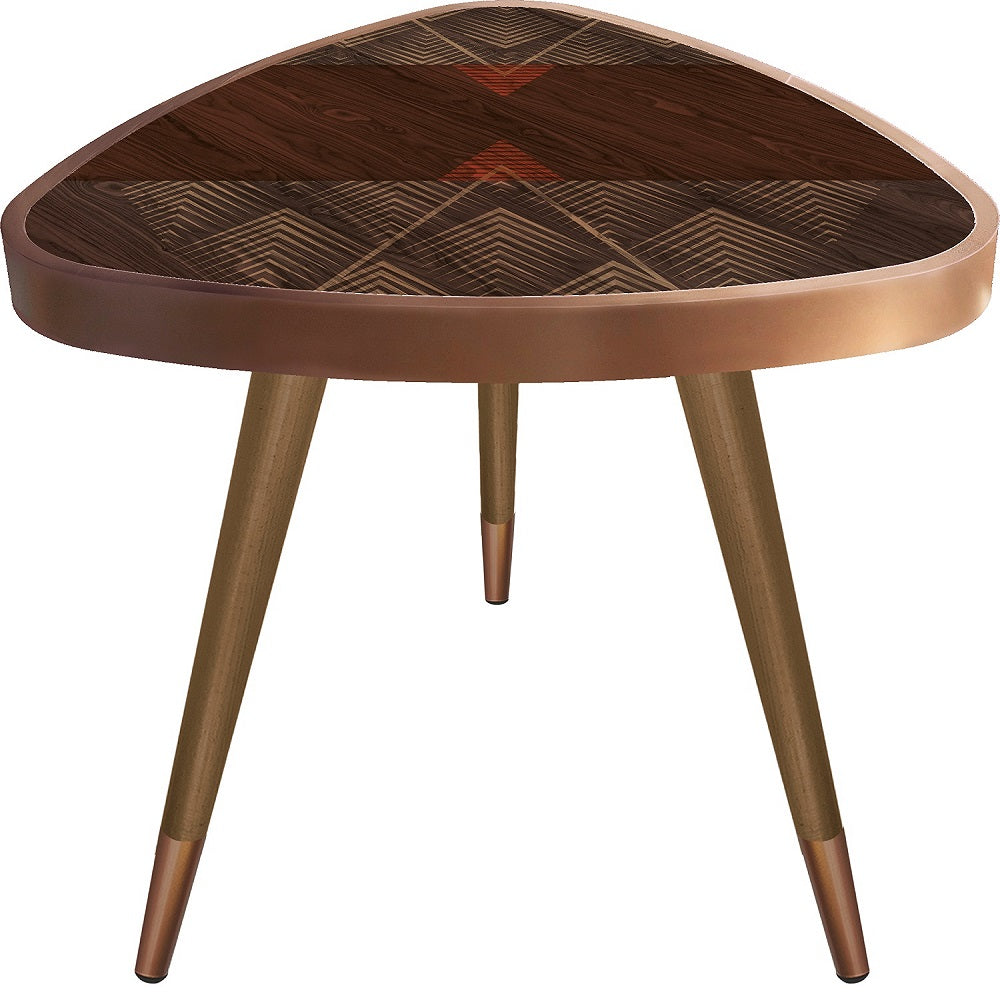"""Brown Patterned""  Triangle Wooden Side Table-TST-063 - Coffee Table - casaculina - casaculina"