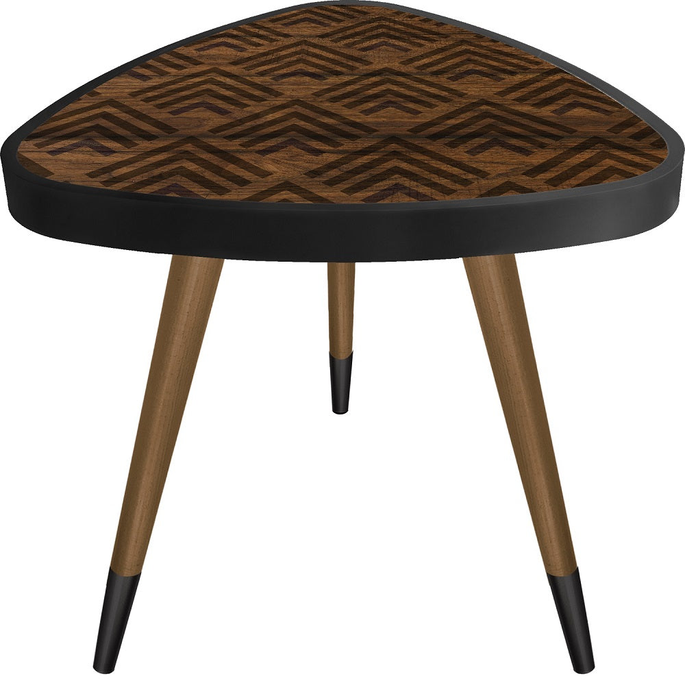 Brown Patterned Theme Vertical Angle  Triangle Wooden Side Table - Coffee Table - casaculina - casaculina