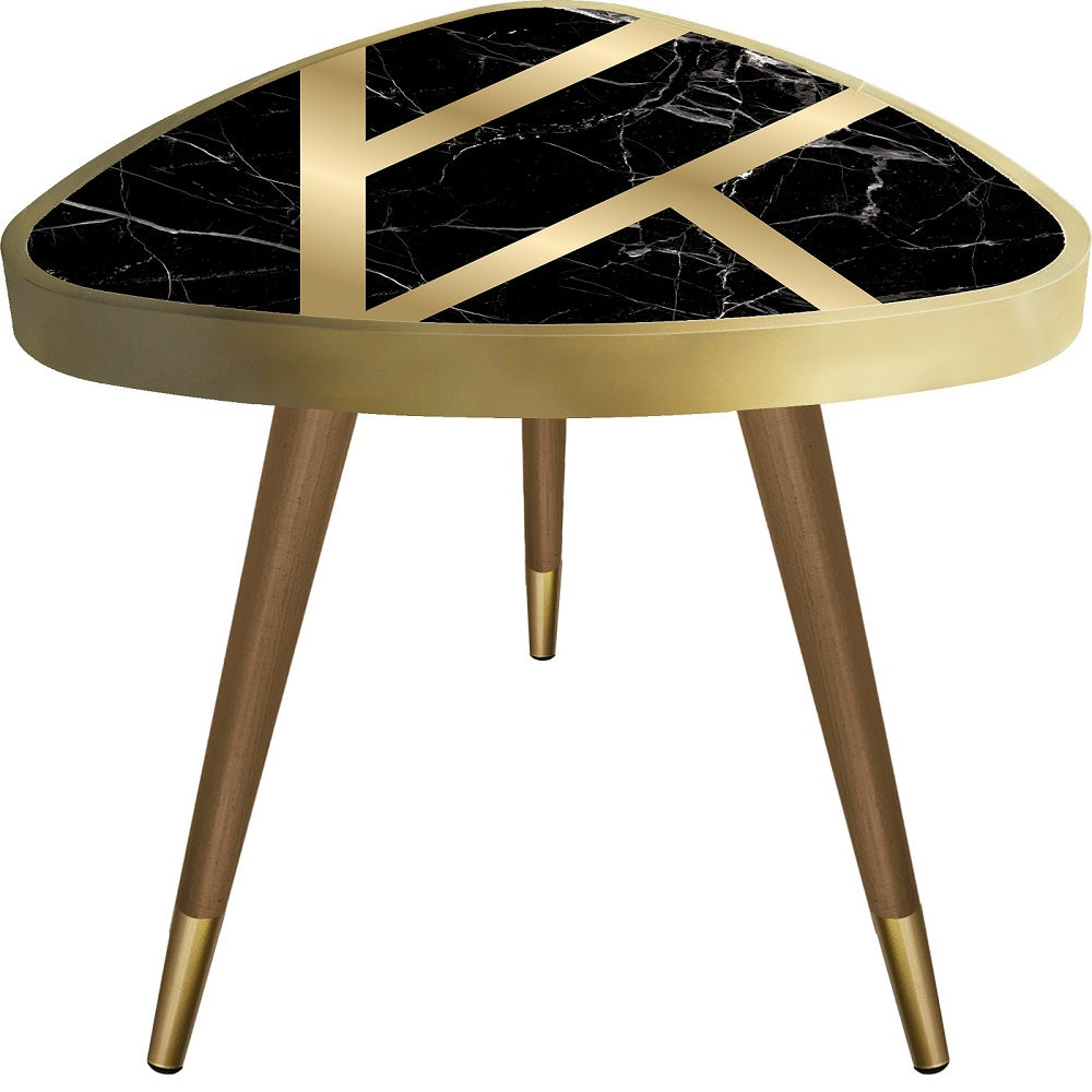 Black Marble Theme Triangle Wooden Side Table - Coffee Table - casaculina - casaculina