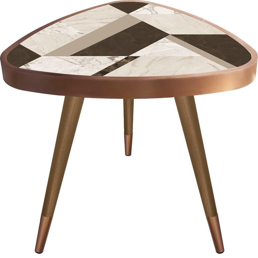 White&Brown Marble Theme Modern Design  Triangle Wooden Side Table - Coffee Table - casaculina - casaculina