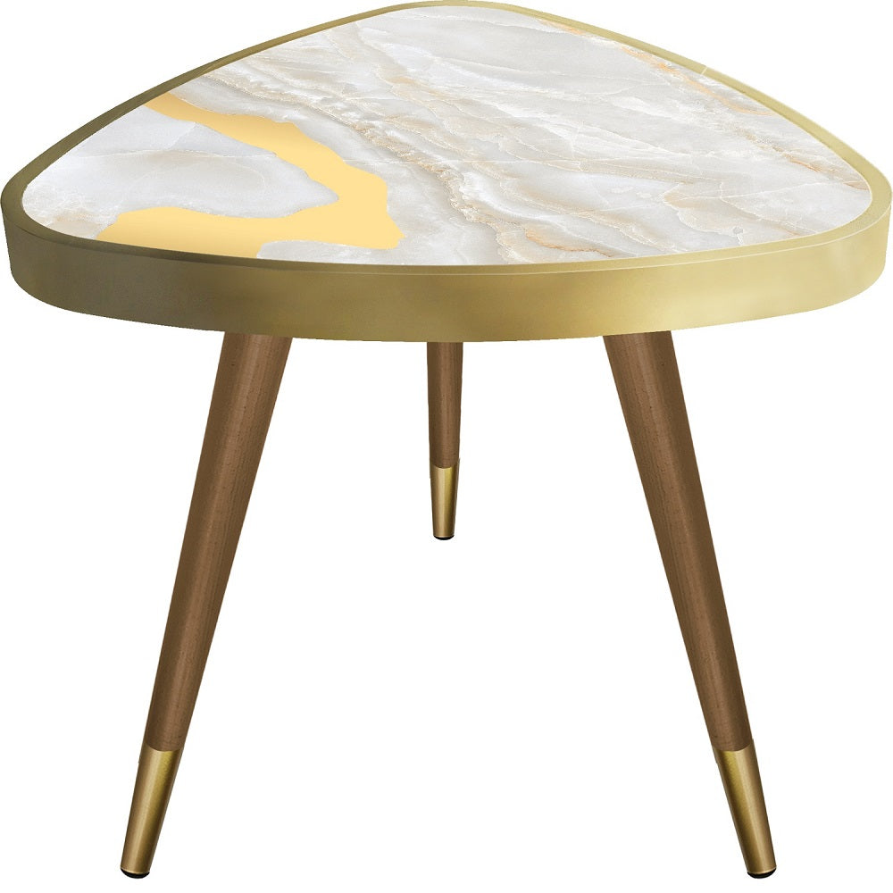 Cream&Yellow Marble Theme Modern DesignTriangle Wooden Side Table - Coffee Table - casaculina - casaculina