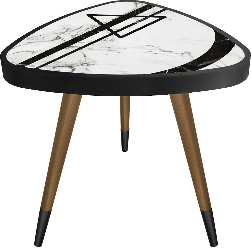 """Geometric Marble Theme Modern Design Triangle Wooden Side Table - Coffee Table - casaculina - casaculina"