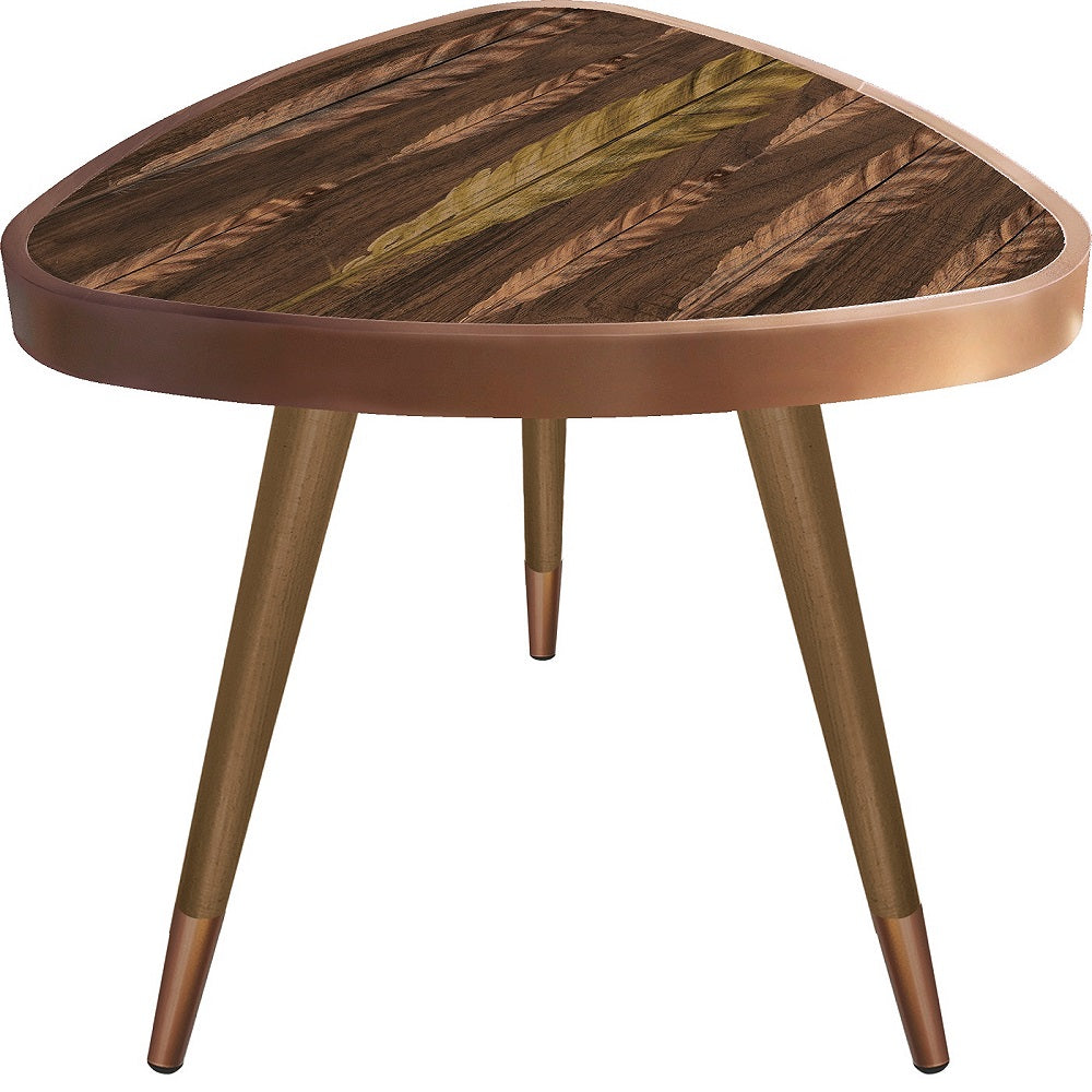 Feather Theme Triangle Wooden Side Table - Coffee Table - casaculina - casaculina