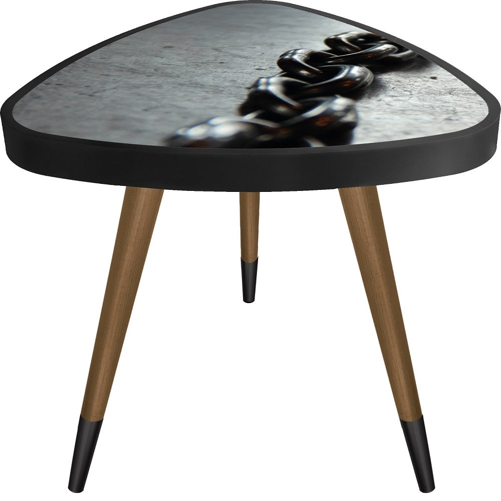 Black Chain Theme  Triangle Wooden Side Table - Coffee Table - casaculina - casaculina