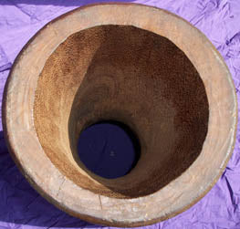 Iroko Wood: Interior is smoother than Guinea Djembe shell