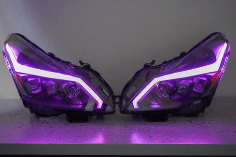 rgb multicolor headlights color changing Infiniti G37 Halos