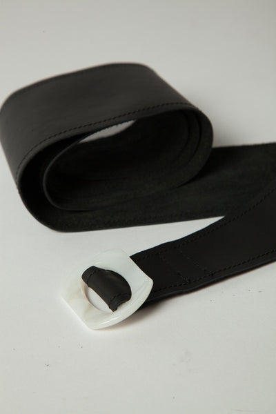 Black Belt with White Buckle (XL)