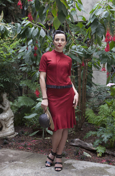 Cascade Skirt in Red Silk Noil