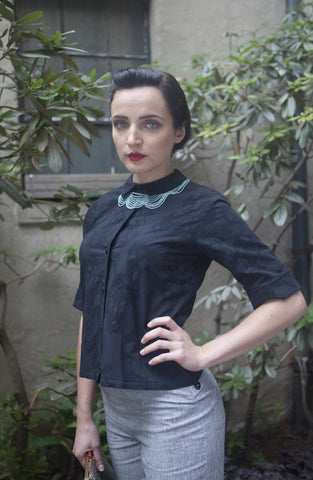 60's Buttondown in Black Cotton Lace