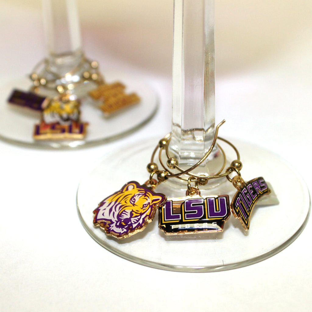LSU Set of 6 Wine Charms | Barware | Tiger People Clothiers