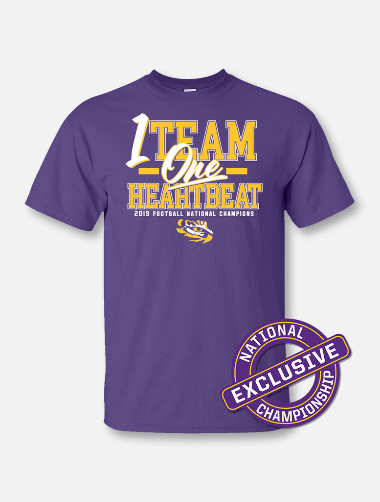 LSU Tigers National Champ One Team One Heartbeat Tee | t-shirt | Tiger People Clothiers