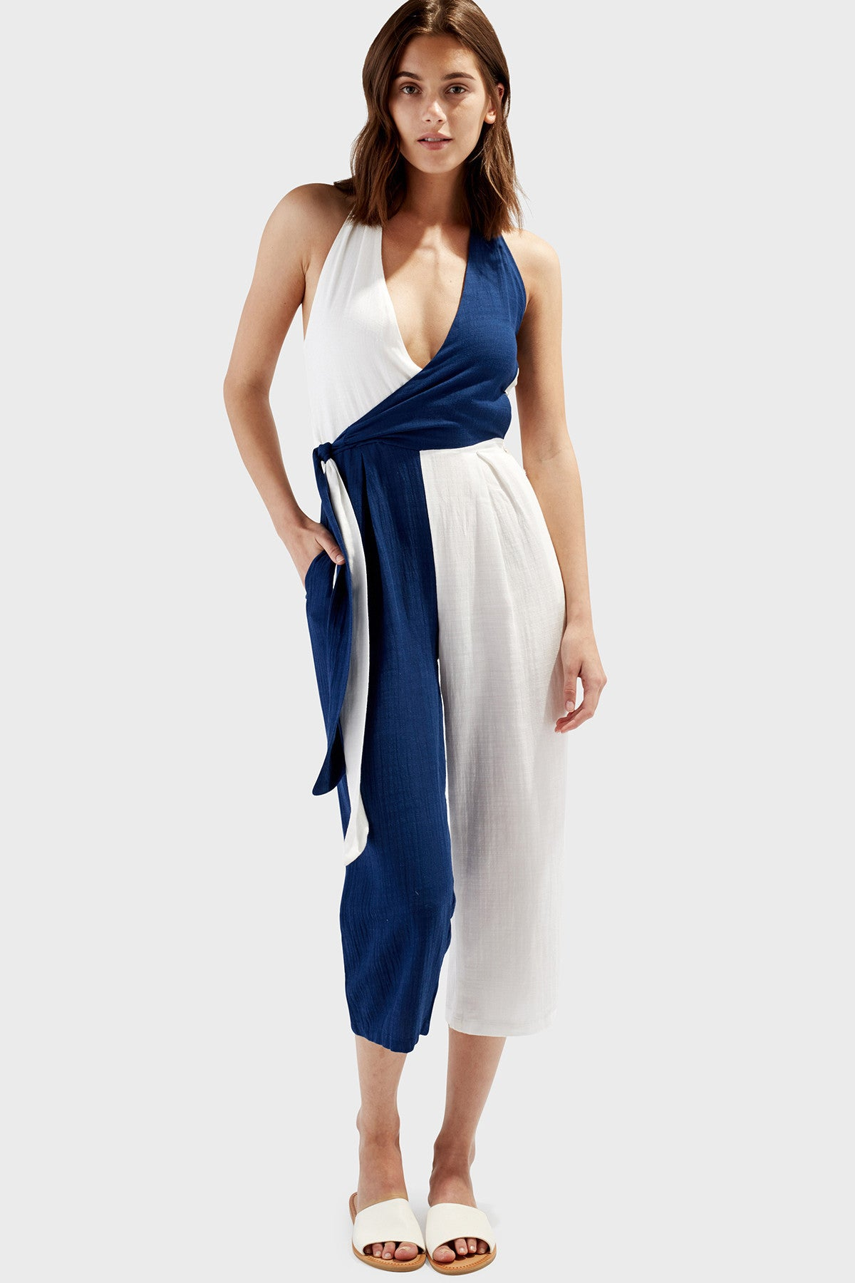 9d35d7d19810 The Camille Jumpsuit in Navy   Cream – Solid   Striped