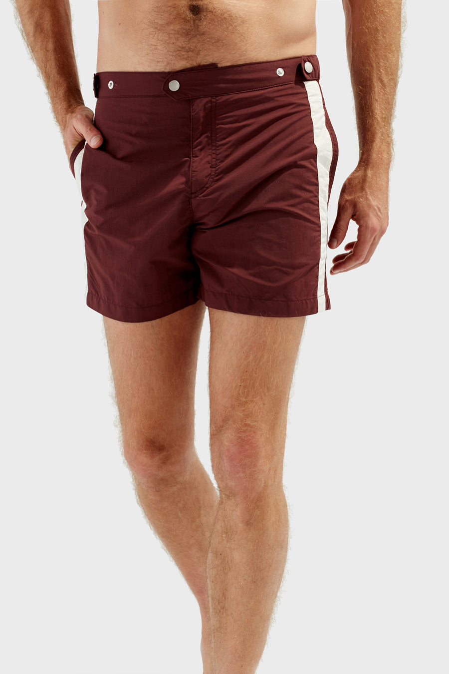 490c22bcac38e The Kennedy Swimshort in Burgundy Cream Side Stripe – Solid & Striped