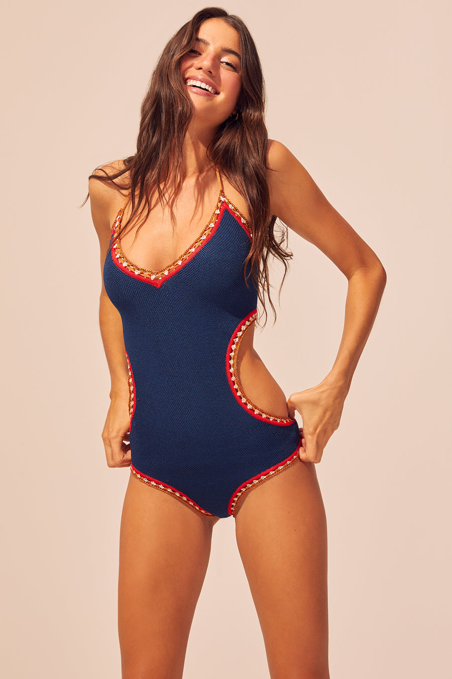The Woodstock Crochet One Piece Solid Striped