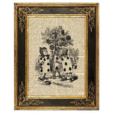 Alice in Wonderland Art Print, Cardmen Painting Rosebush
