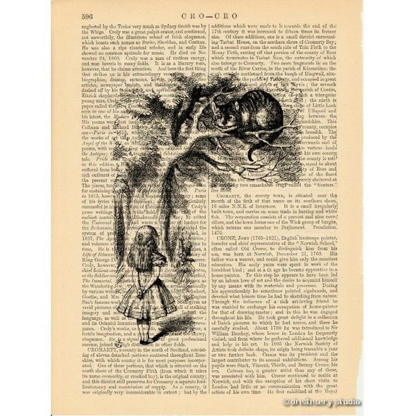 Alice in Wonderland Art Print, Talking to Cheshire Cat