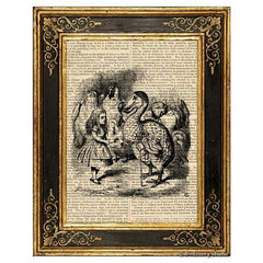 Alice in Wonderland Art Print, Dodo Bird Presenting Thimble