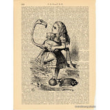Alice in Wonderland Art Print, Playing Croquet w/ Flamingo and Hedgehog
