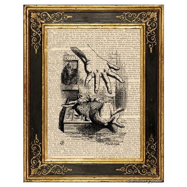 Alice in Wonderland Art Print, Grabbing White Rabbit