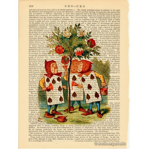 Alice in Wonderland Color Art Print, Cardmen Painting Rosebush